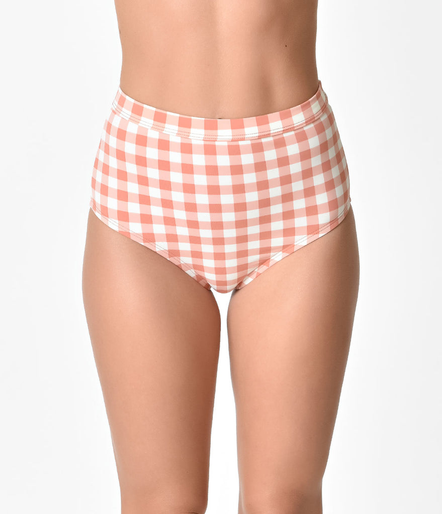 Dusty Pink & Ivory Gingham Amore Rosa High Waist Swim Bottoms
