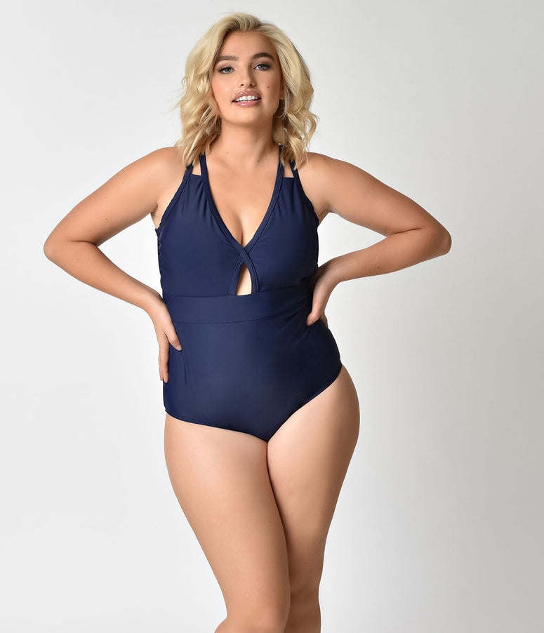 Plus Size 1960s Style Midnight Blue Cut Out Keyhole Swimsuit