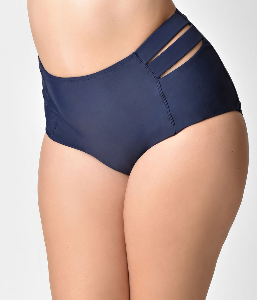 Midnight Blue with Cage Detailing Plus Size High Waisted Swim Bottom