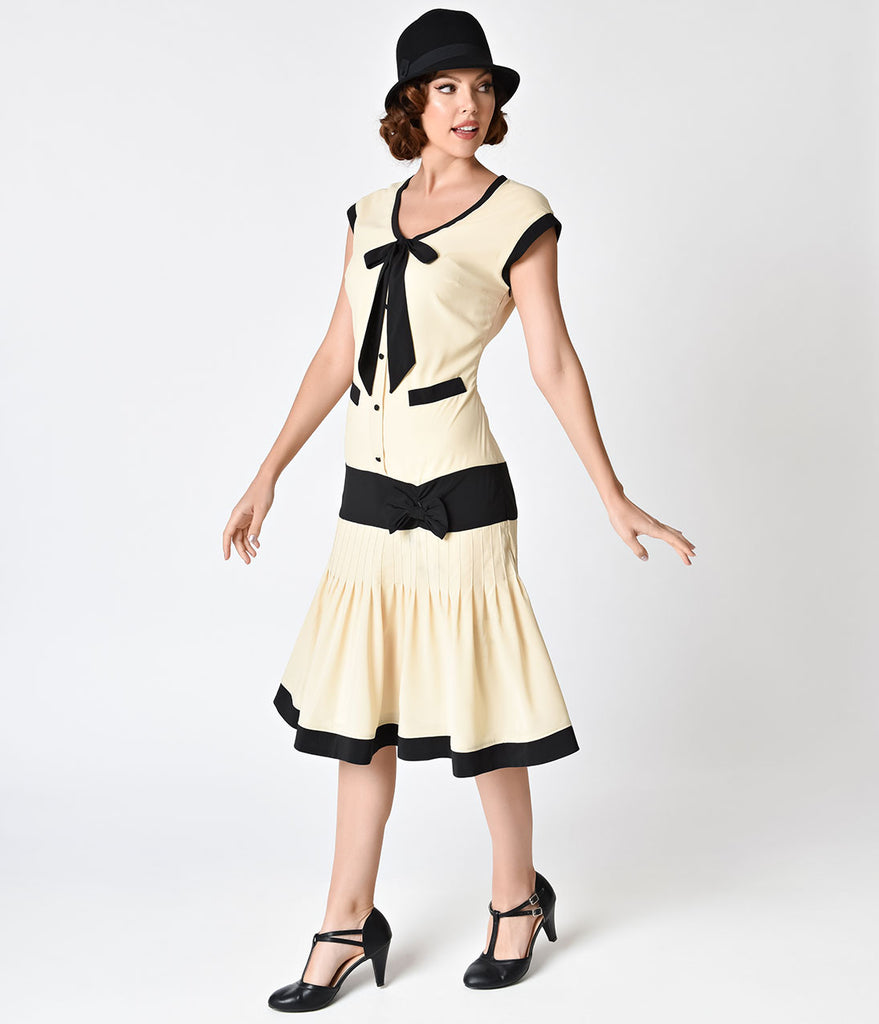 Unique Vintage Antique Ivory & Black Chiffon Cherie Flapper Day Dress