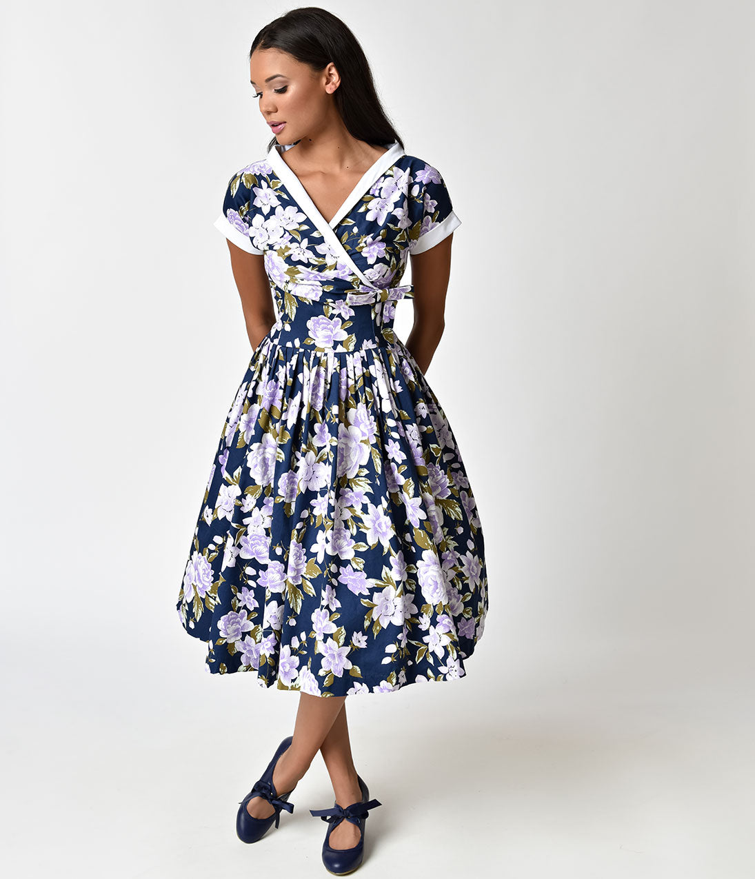 Pin Up Dresses | Pin Up Clothing Unique Vintage 1950S Style Navy  Purple Floral Pleated Waldorf Swing Dress $89.00 AT vintagedancer.com