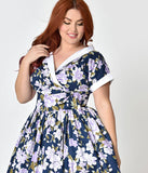 Unique Vintage Plus Size 1950s Style Navy & Purple Floral Pleated Waldorf Swing Dress