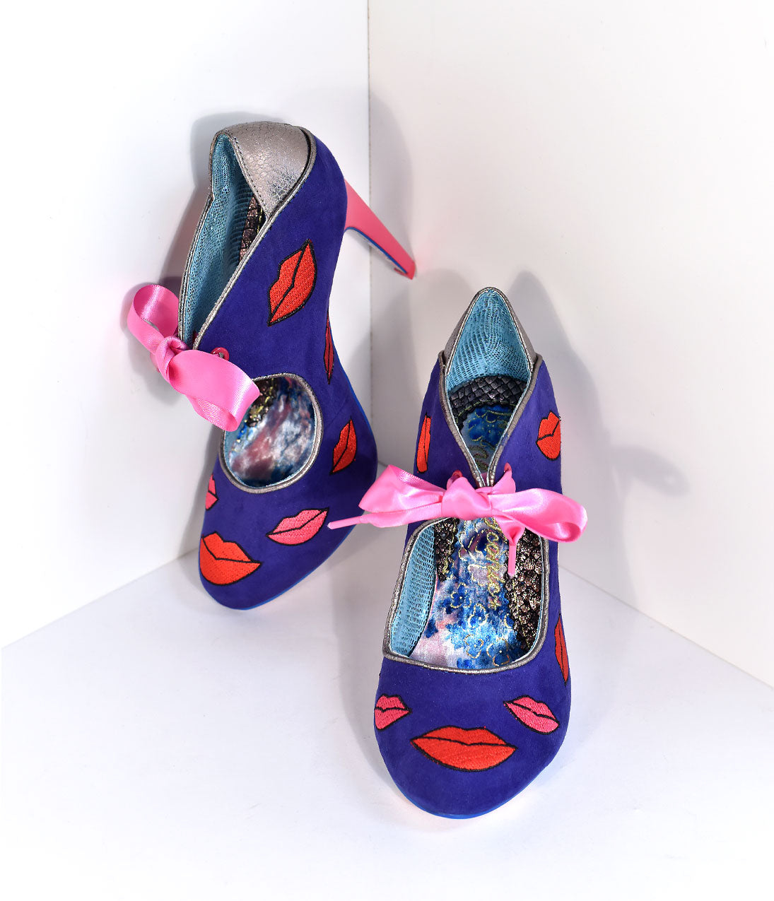 Pin Up Shoes- Heels & Flats Irregular Choice Navy Suede  Red Pucker Up Valentine Heels Shoes $90.00 AT vintagedancer.com