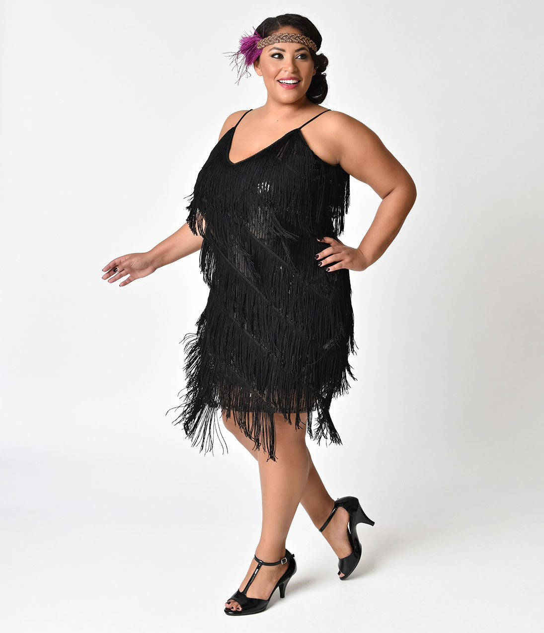 Gangster Costumes & Outfits | Women's and Men's Unique Vintage Plus Size 1920S Style Black Cecile Tiered Fringe Flapper Dress $35.00 AT vintagedancer.com