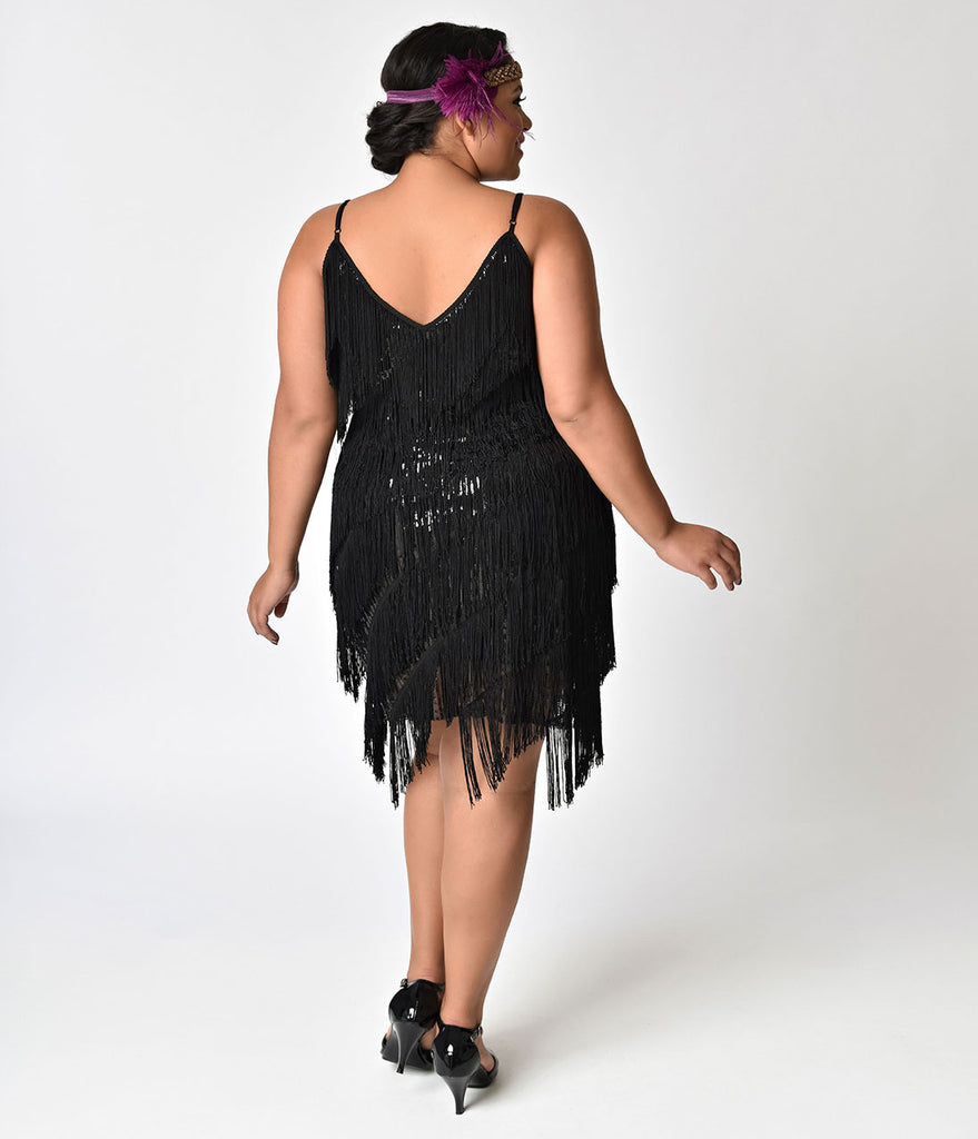 Unique Vintage Plus Size 1920s Style Black Cecile Tiered Fringe Flapper Dress