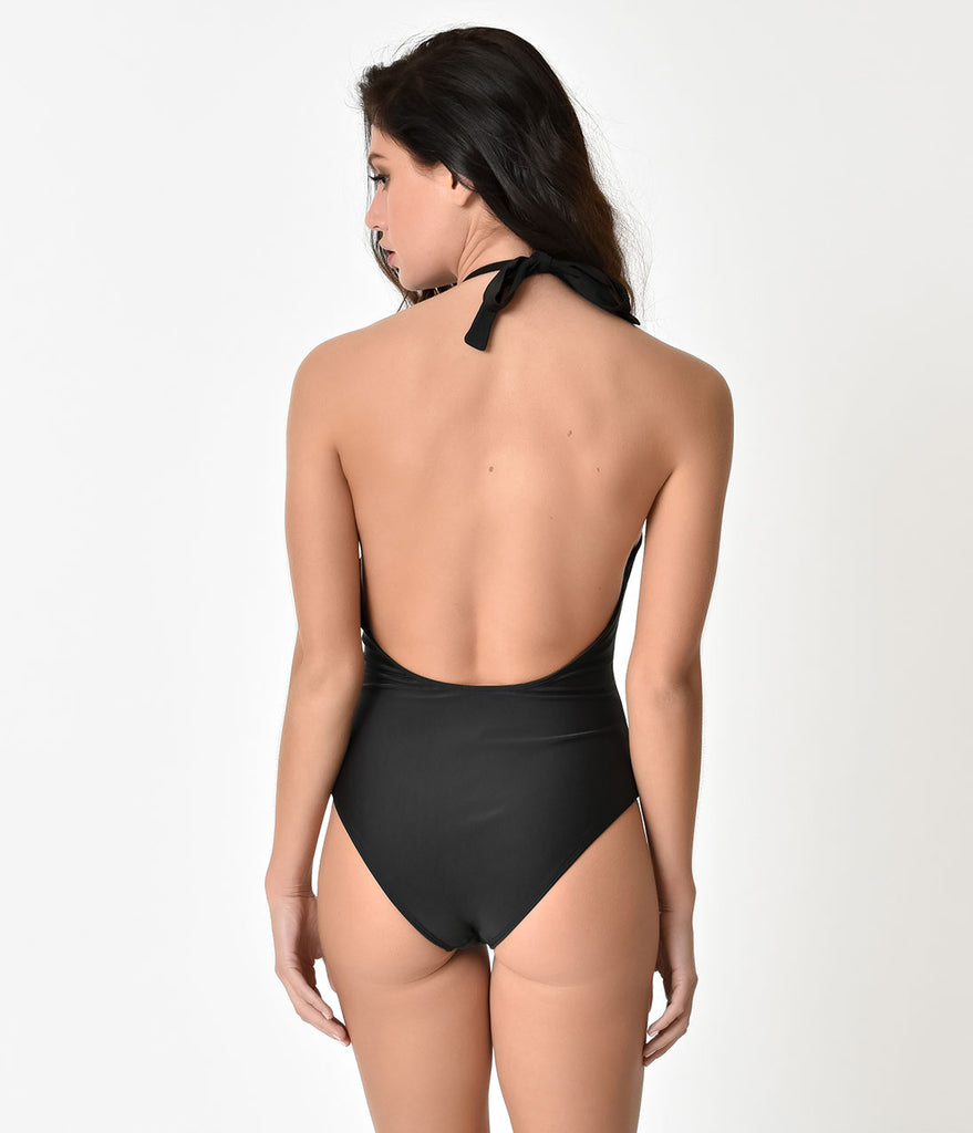 Vintage Style Black Sexy Plunging Zip Up One Piece Swimsuit