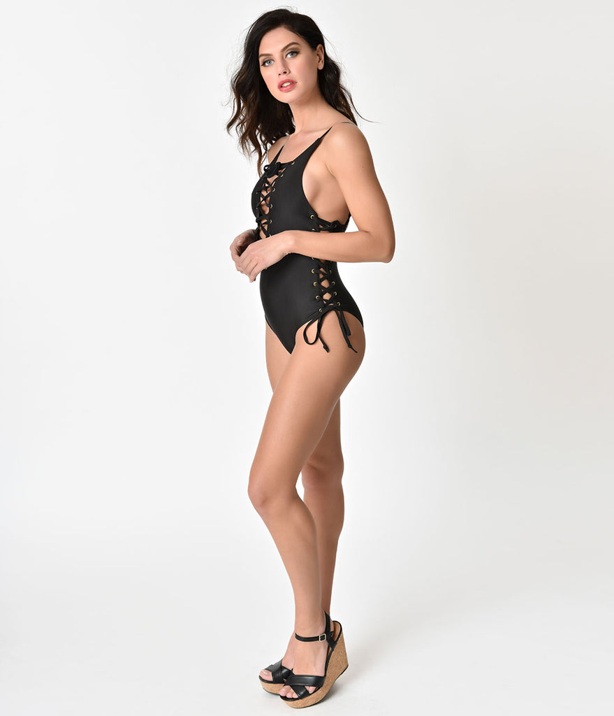 Retro Style Black Sexy Lace Up One Piece Swimsuit