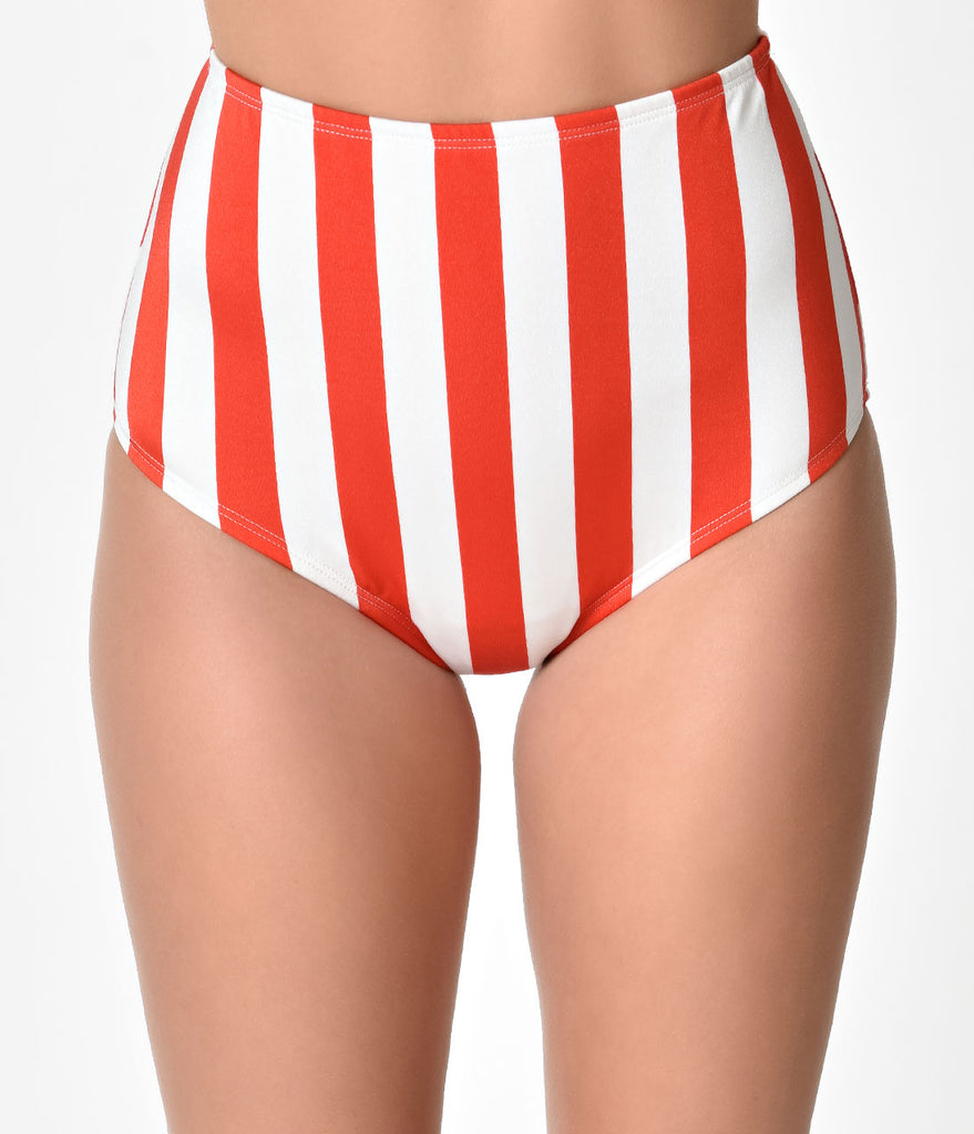 Bettie Page 1950s Style Red & White Stripe Americana Swim Bottoms