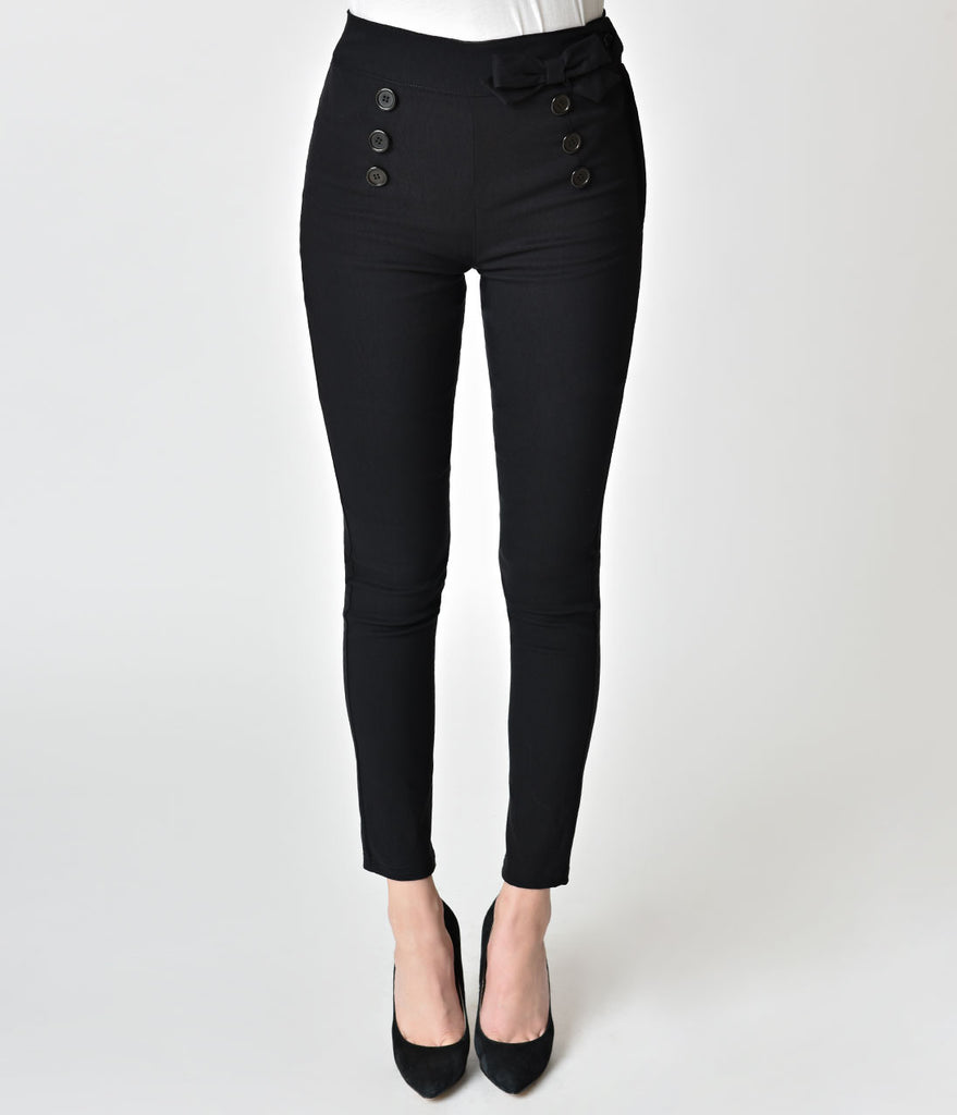 Pin-Up Style Black Button Detailed Cigarette Pants