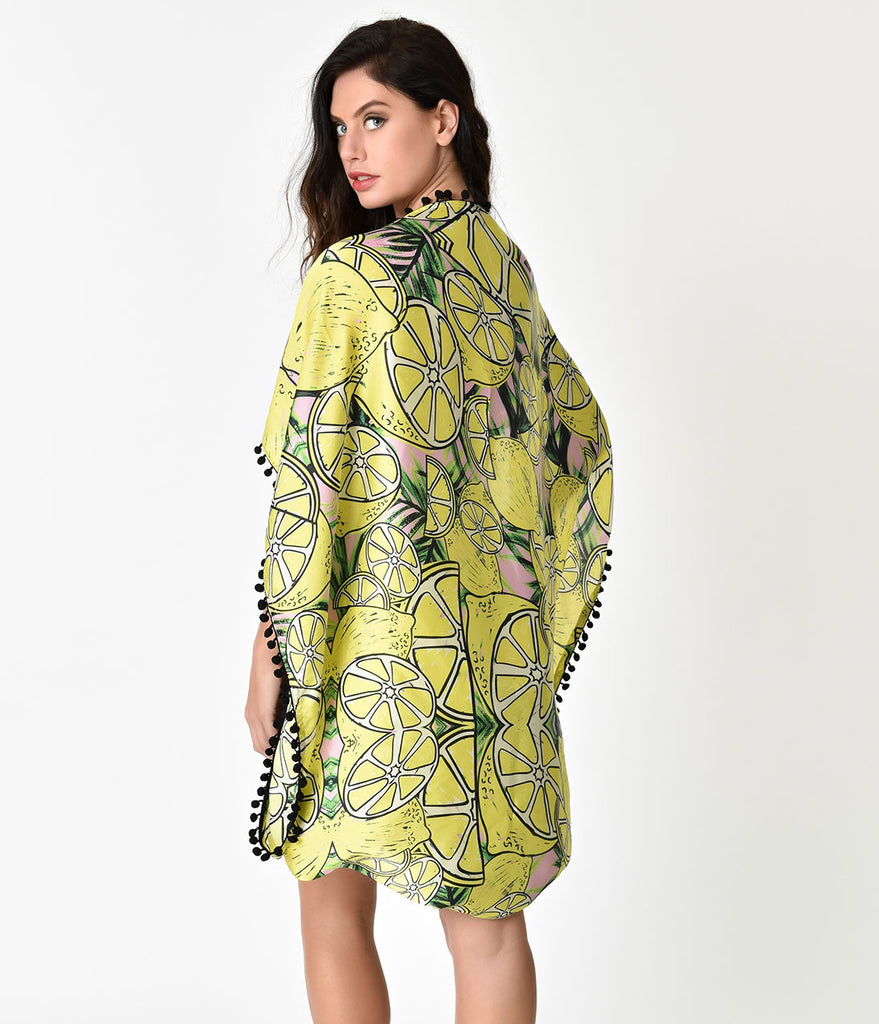 Yellow Lemon Print Juicy Summer Swim Coverup