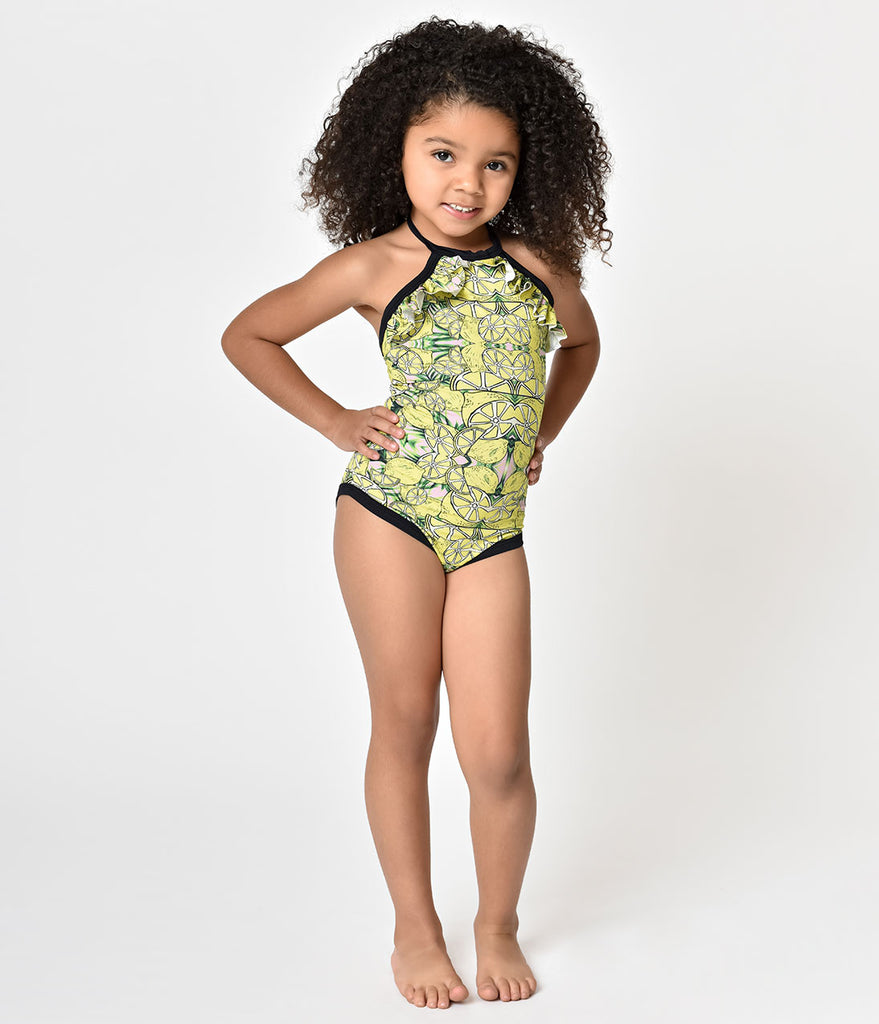 Mini Lemonade Print Halter One Piece Kids Swimsuit