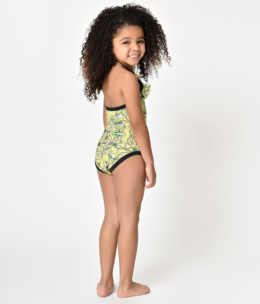 Mini Lemonade Print Halter One Piece Kids Swimsuit – Unique Vintage