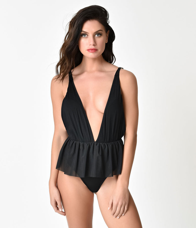 Vintage Style Black Sexy Bachelorette Ruffled Peplum One Piece Swimsuit