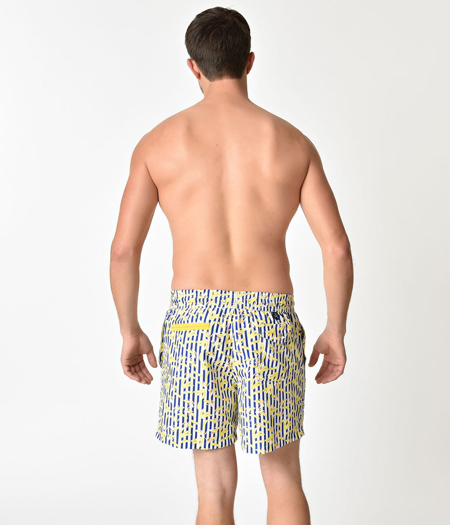 Blue & White Striped Gone Bananas Mens Swim Shorts
