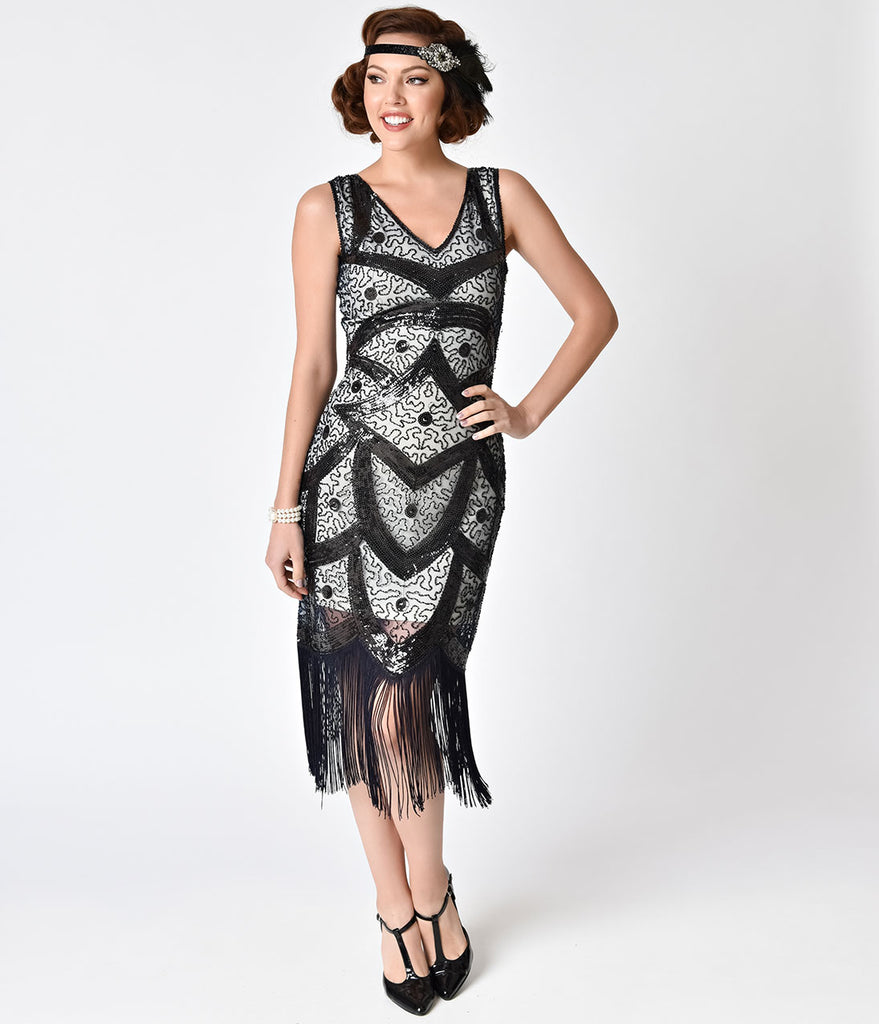 Unique Vintage Black, Ivory, & Midnight Blue Sequin Fringe Colette Flapper Dress