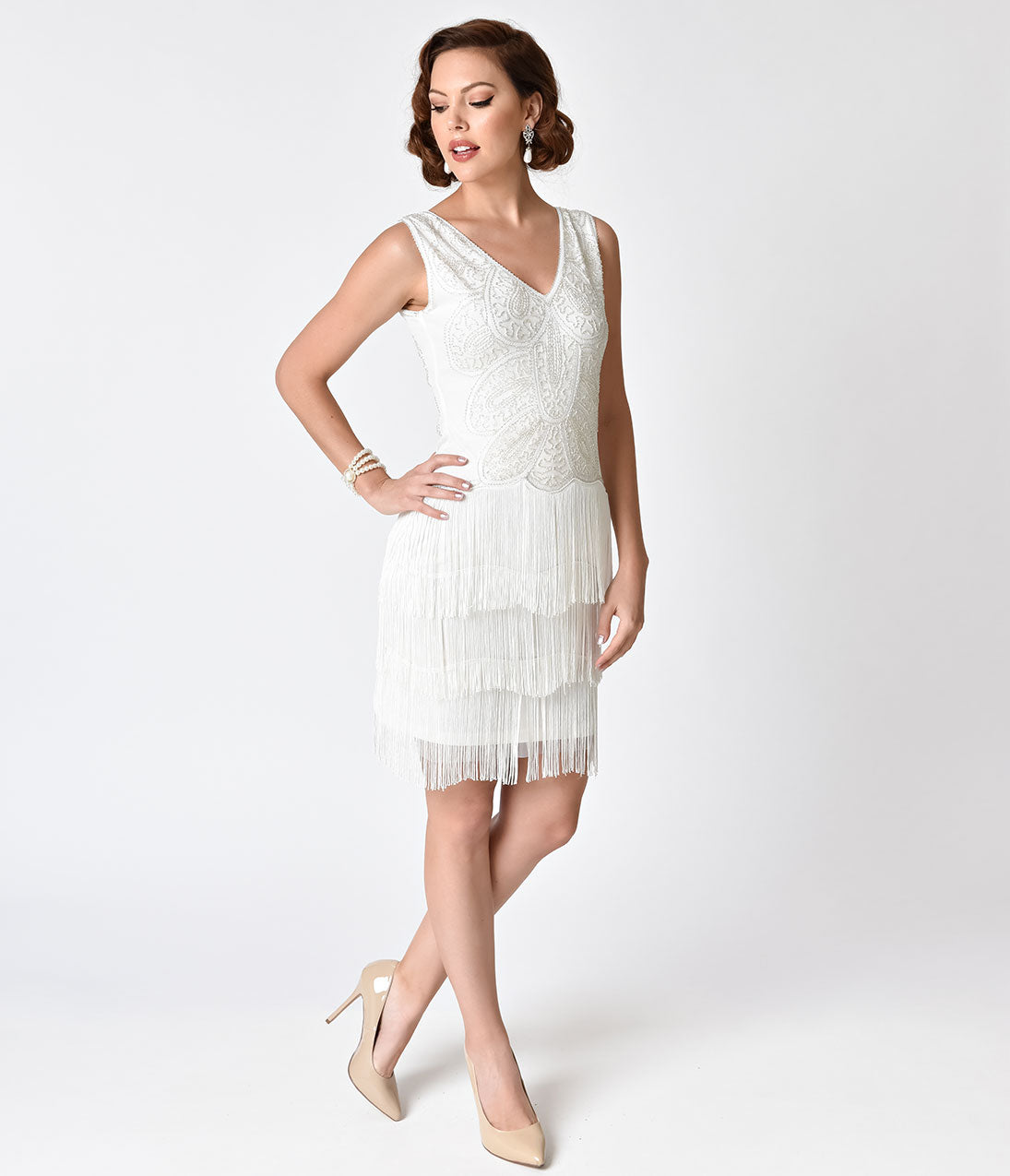 1920s Wedding Dresses- Art Deco Wedding Dress, Gatsby Wedding Dress Unique Vintage 1920s Style White Beaded Tiered Fringe Emile Cocktail Dress $47.00 AT vintagedancer.com
