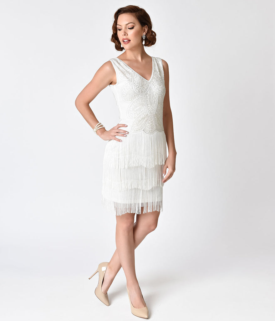 Unique Vintage 1920s Style White Beaded Tiered Fringe Emile Cocktail Dress