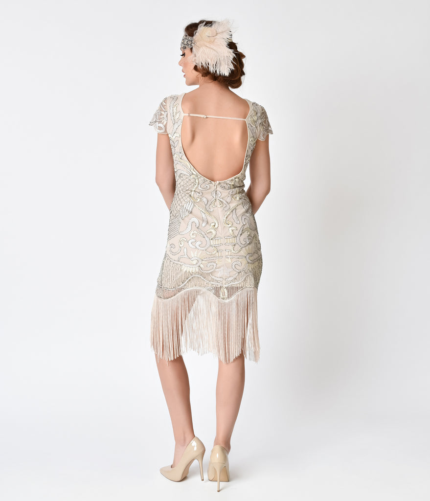 Unique Vintage 1920s Style Champagne Beaded Fringe Aurore Flapper Dress