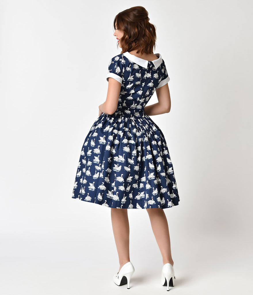 Unique Vintage 1950s Style Navy Blue & White Swan Print Pleated Waldorf Swing Dress