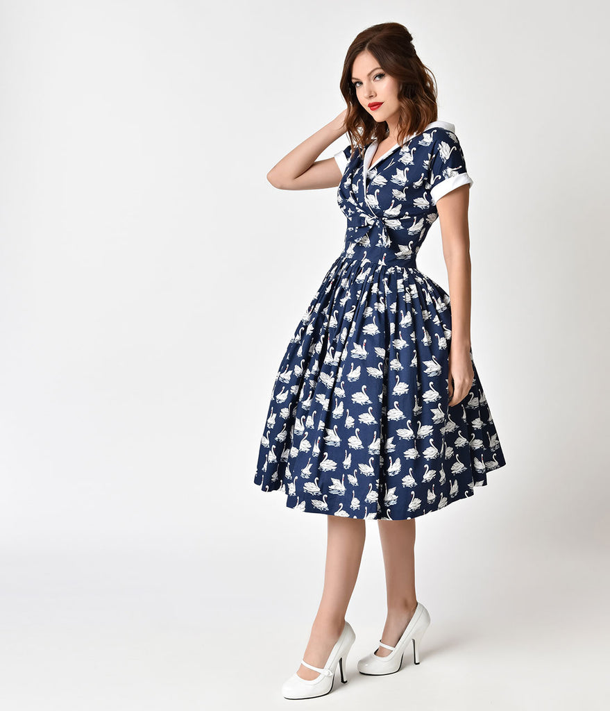 a3204711bc1b ... Unique Vintage 1950s Style Navy Blue & White Swan Print Pleated Waldorf Swing  Dress