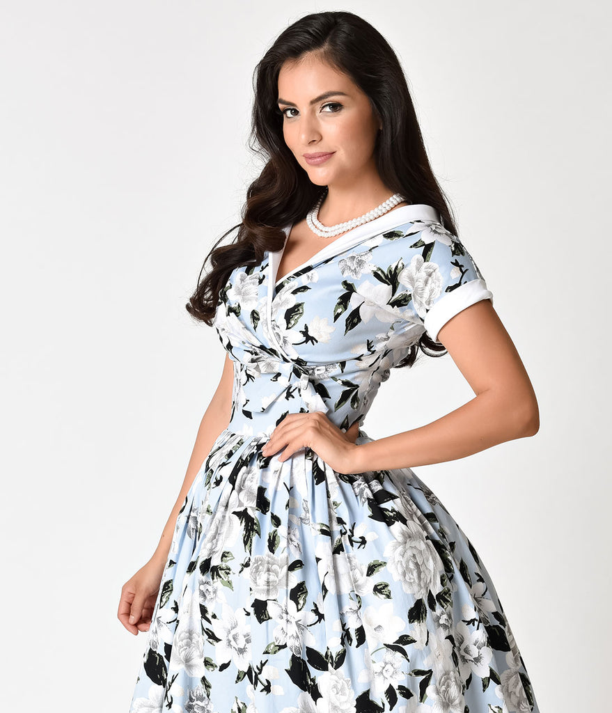 Unique Vintage 1950s Style Light Blue White Floral Print Pleated Wal