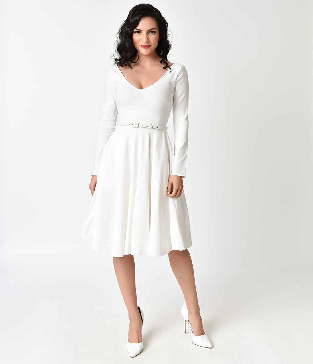 1940s Style Wedding Dresses | Classic Wedding Dresses Unique Vintage 1950s Ivory Stretch Long Sleeve Maude Swing Dress $98.00 AT vintagedancer.com
