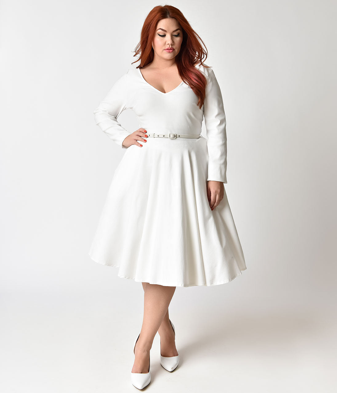 1940s Style Wedding Dresses | Classic Wedding Dresses Unique Vintage Plus Size 1950s Ivory Stretch Long Sleeve Maude Swing Dress $98.00 AT vintagedancer.com