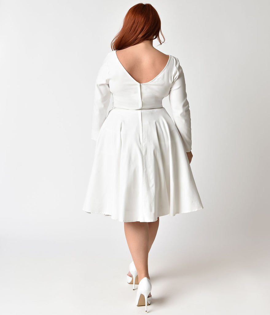Unique Vintage Plus Size 1950s Ivory Stretch Long Sleeve Maude Swing Dress