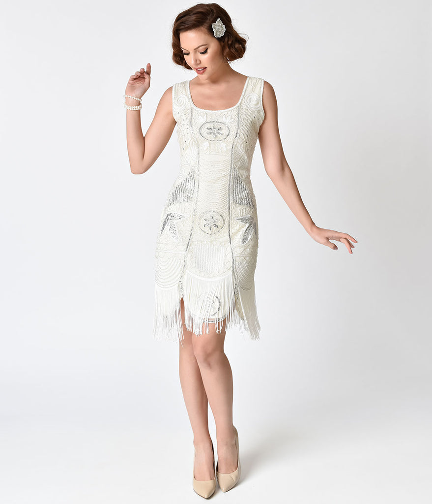 Unique Vintage 1920s Deco Ivory Beaded Fringe Camille Flapper Dress