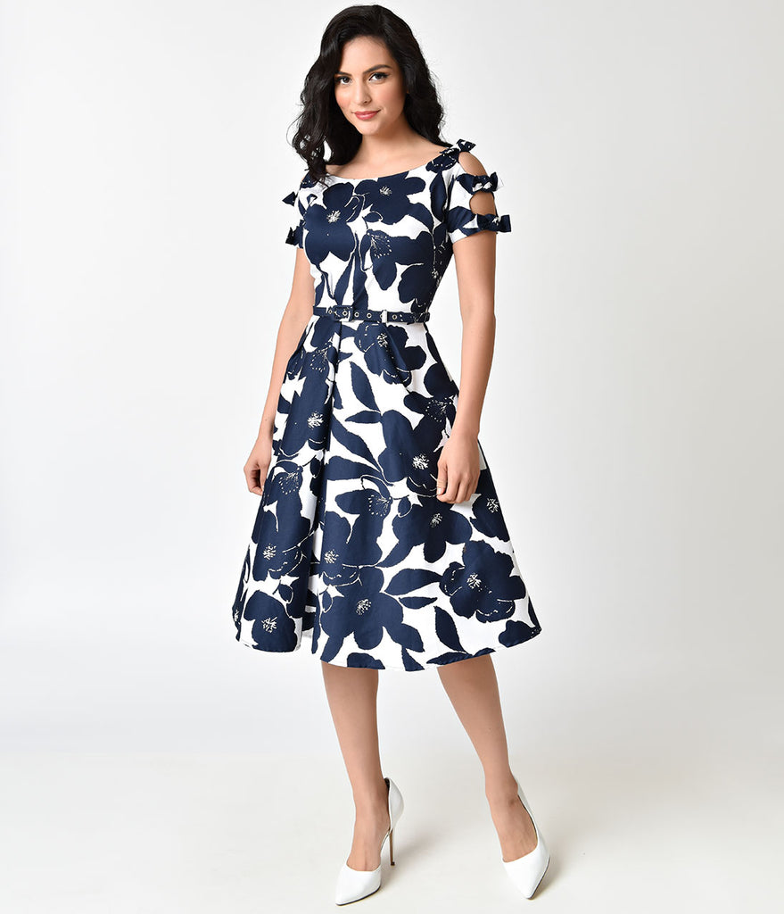 Unique Vintage 1950s White & Navy Floral Bow Sleeve Selma Swing Dress
