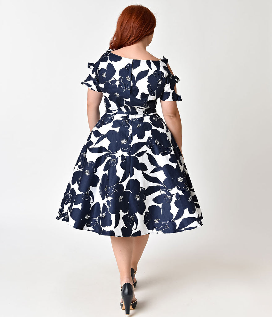 Unique Vintage Plus Size 1950s White & Navy Floral Bow Sleeve Selma Swing Dress