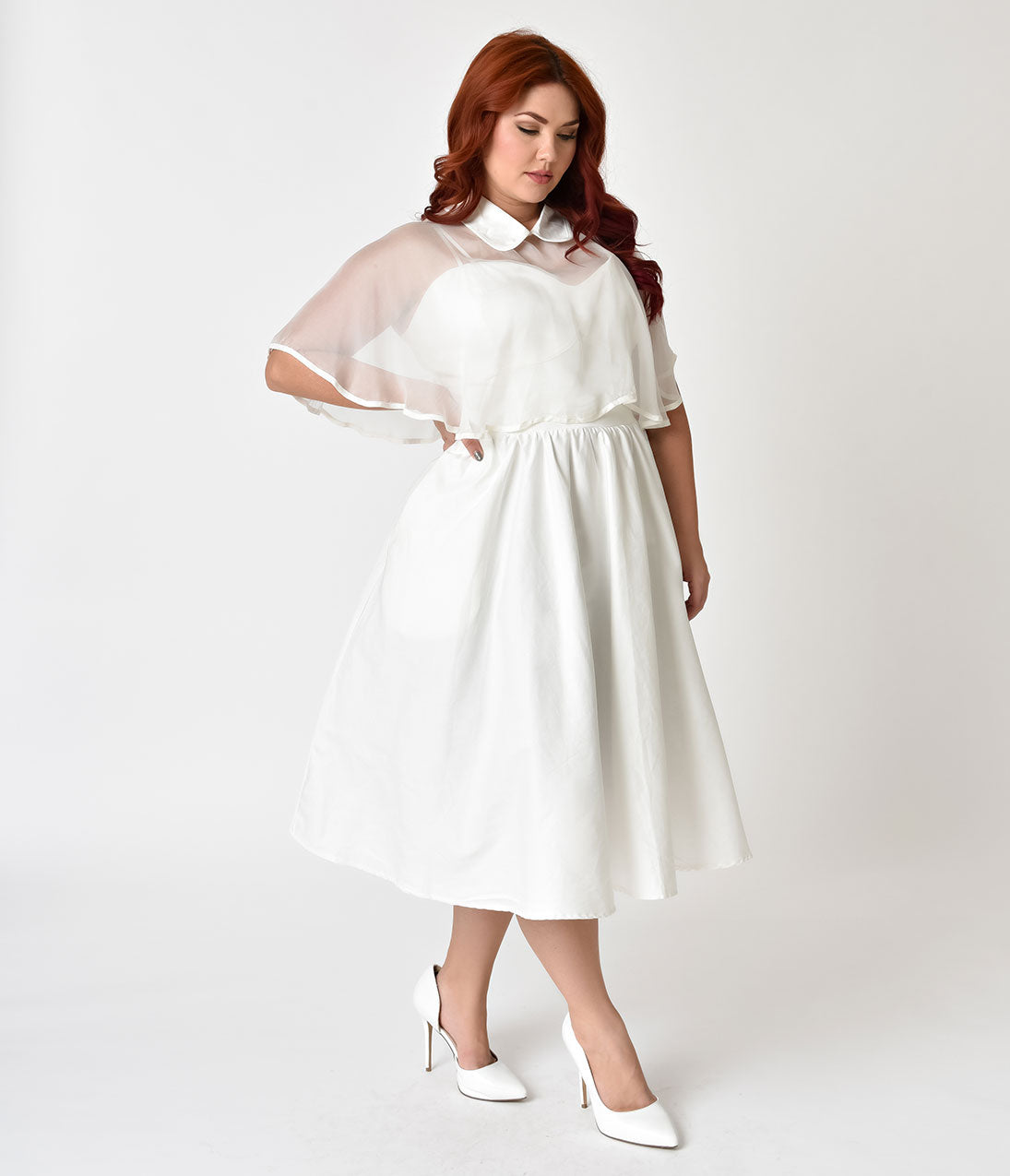1940s Style Wedding Dresses | Classic Wedding Dresses Unique Vintage Plus Size 1940s White Brushed Cotton Luna Swing Dress  Mesh Capelet $118.00 AT vintagedancer.com