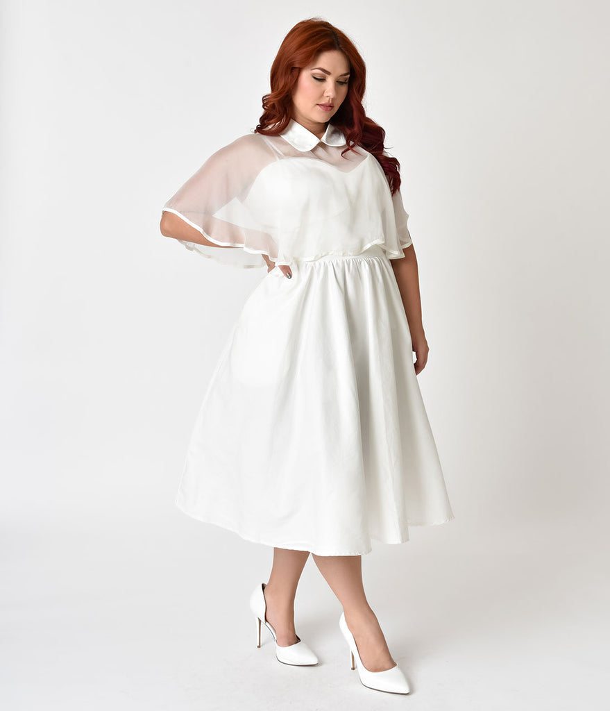 Unique Vintage Plus Size 1940s White Brushed Cotton Luna Swing Dress & Mesh Capelet