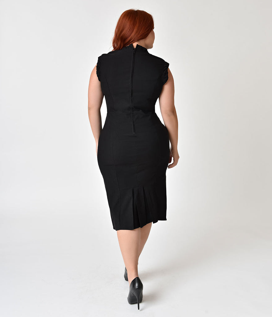 Unique Vintage Plus Size 1960s Style Black Cap Sleeve Laverne Wiggle Dress