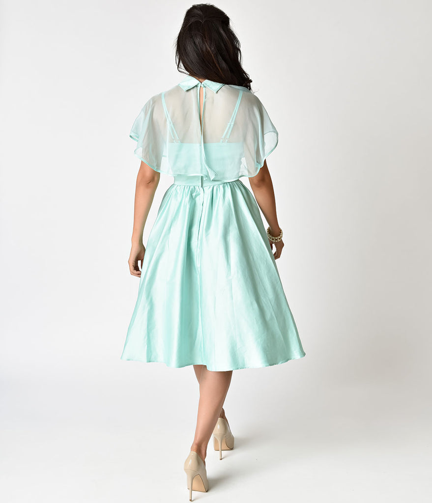 Unique Vintage 1940s Style Mint Brushed Cotton Luna Swing Dress & Mesh Capelet