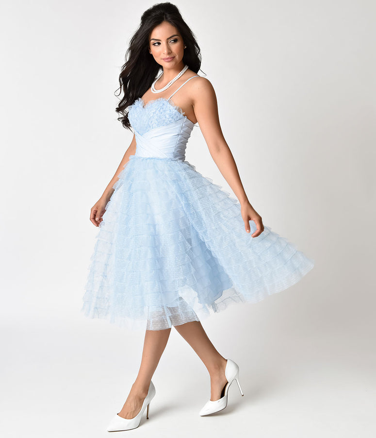 Unique Vintage 1950s Light Blue Ruffled Tulle Sweetheart Cupcake Swing Dress