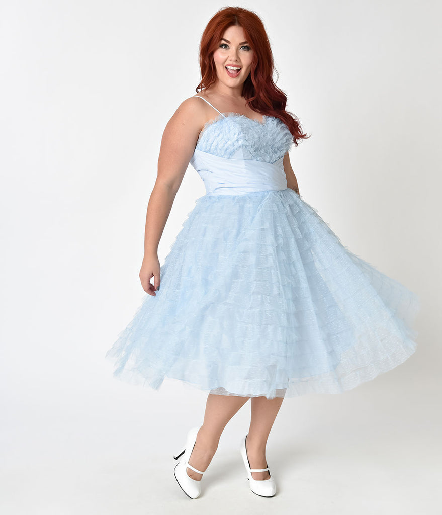 Unique Vintage Plus Size 1950s Light Blue Ruffled Tulle Sweetheart Cupcake Swing Dress