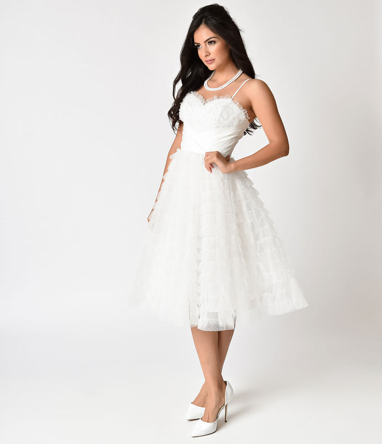 Unique Vintage 1950s White Ruffled Tulle Sweetheart Cupcake Swing Dress