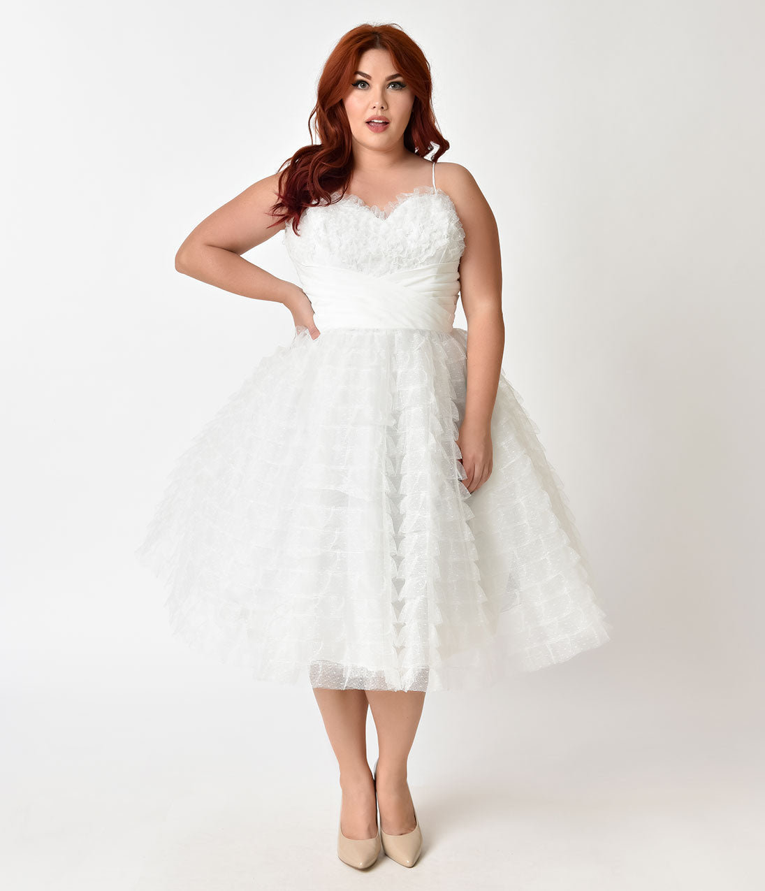 Vintage Inspired Wedding Dress | Vintage Style Wedding Dresses Unique Vintage Plus Size 1950S White Ruffled Tulle Sweetheart Cupcake Swing Dress $89.00 AT vintagedancer.com