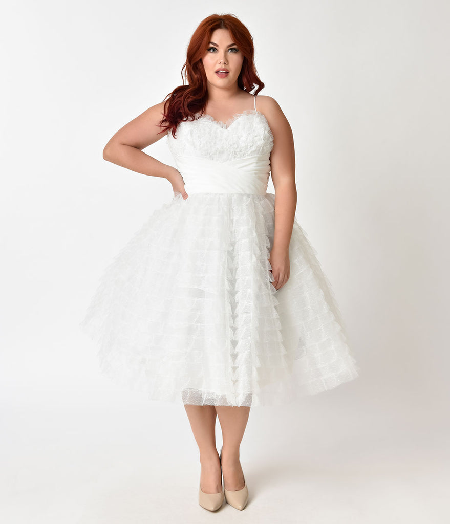 Unique Vintage Plus Size 1950s White Ruffled Tulle Sweetheart Cupcake Swing Dress