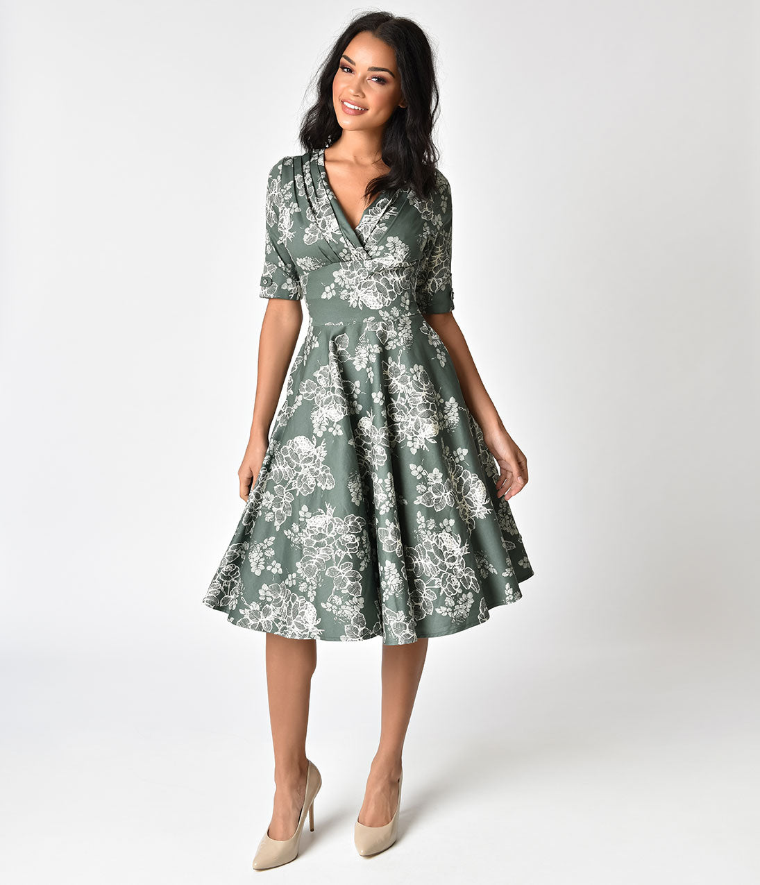 Pin Up Dresses | Pinup Clothing & Fashion Unique Vintage 1950S Sage Green Floral Delores Swing Dress With Sleeves $98.00 AT vintagedancer.com
