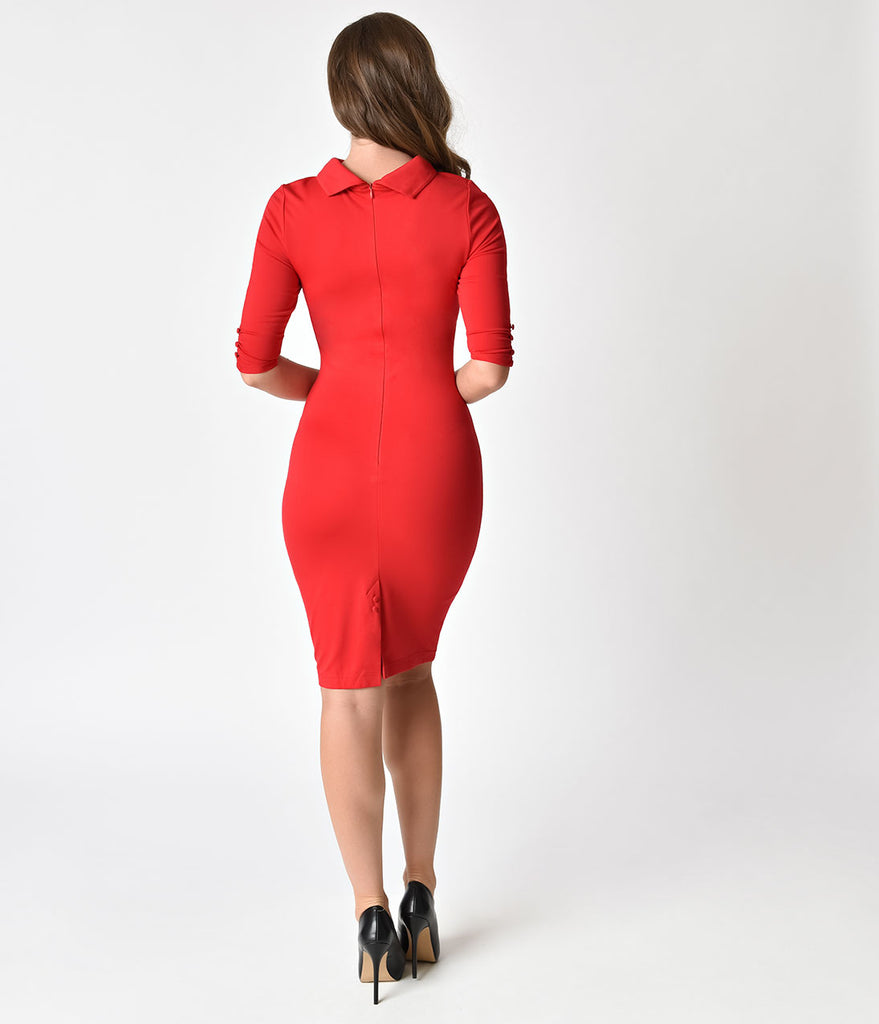 Unique Vintage 1960s Retro Red Knit Half Sleeve Cassidy Wiggle Dress