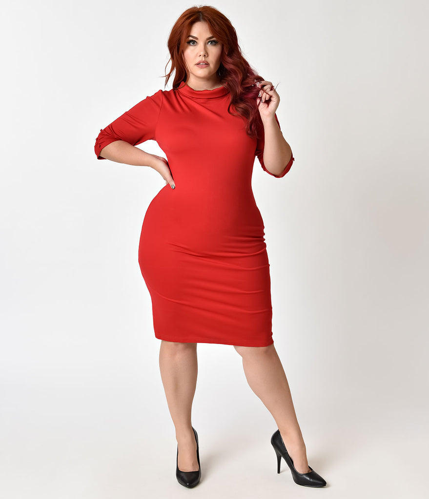 Unique Vintage Plus Size 1960s Retro Red Knit Half Sleeve Cassidy Wiggle Dress