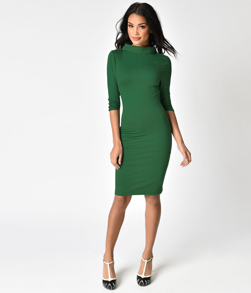 Unique Vintage 1960s Retro Green Knit Half Sleeve Cassidy Wiggle Dress