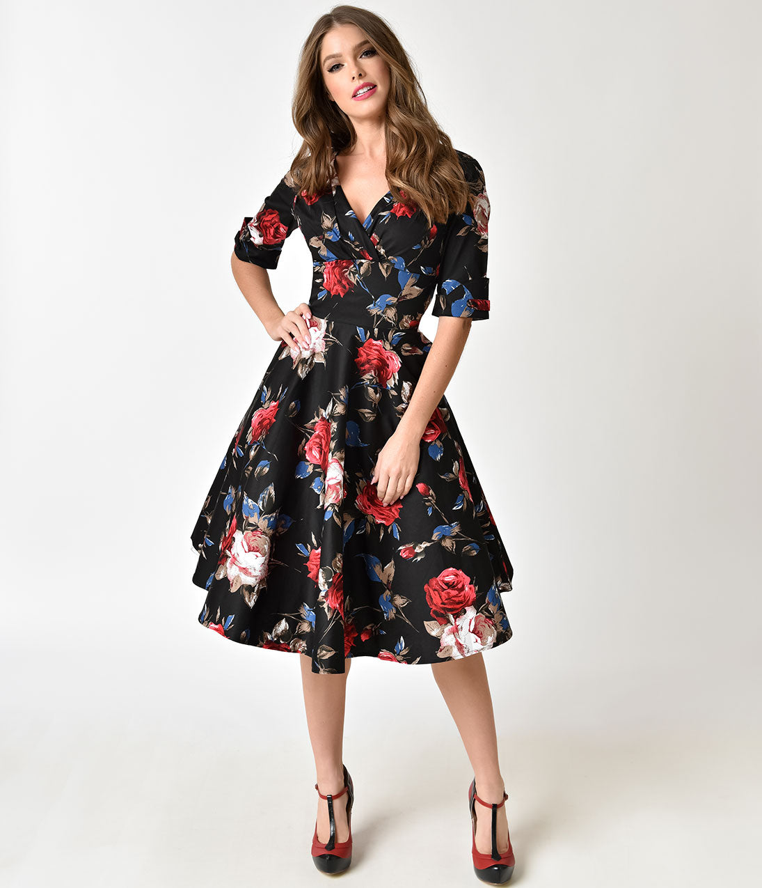 1950s Swing Dresses | 50s Swing Dress Unique Vintage 1950S Black  Red Floral Delores Swing Dress With Sleeves $74.00 AT vintagedancer.com