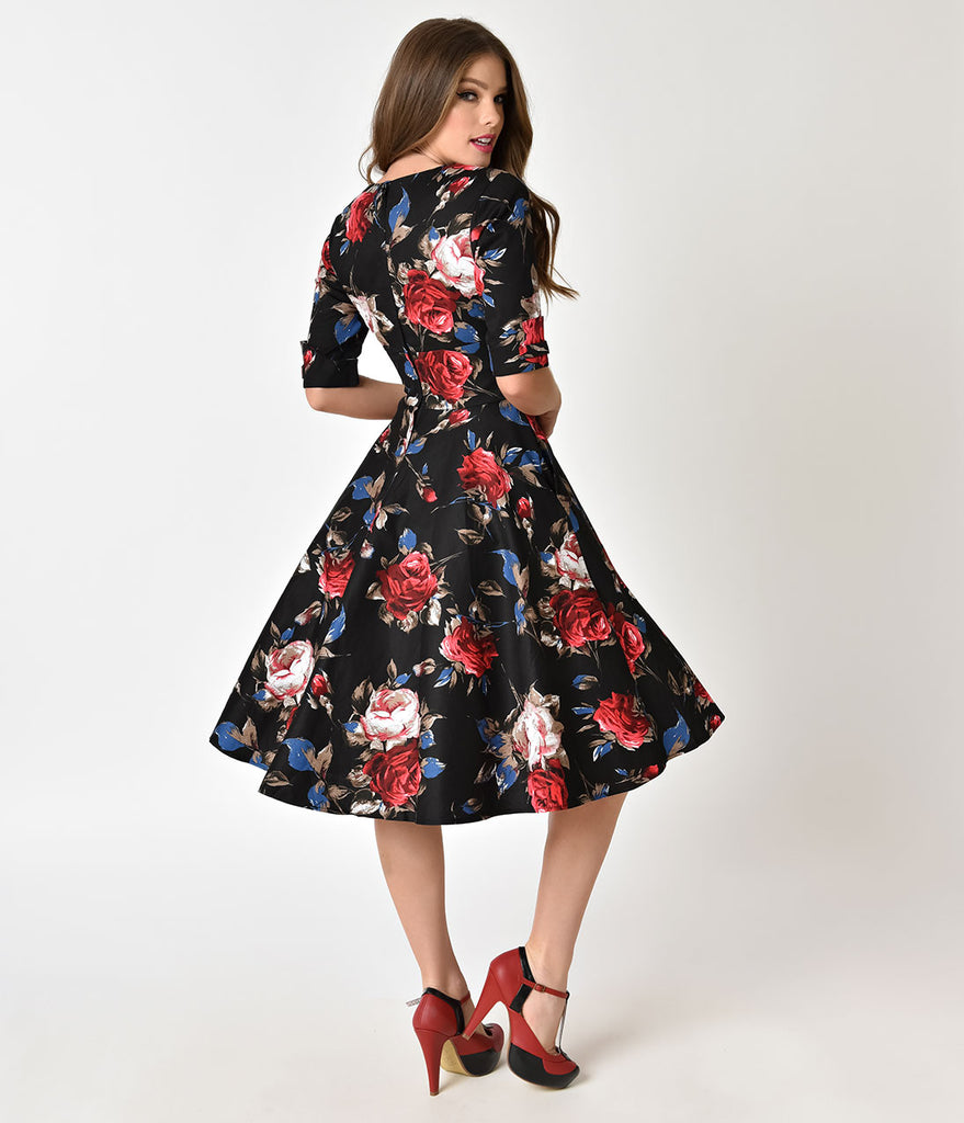 Unique Vintage 1950s Black & Red Floral Delores Swing Dress with Sleeves