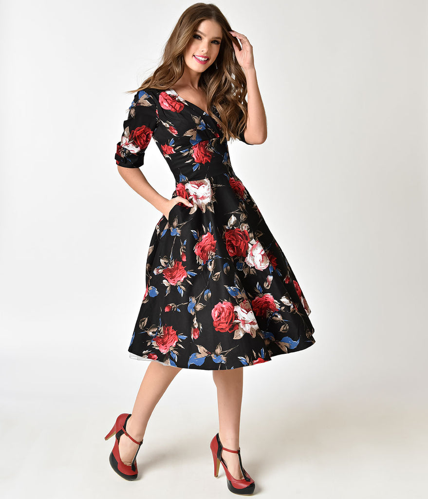 Flower Dress: Unique Vintage 1950s Black & Red Floral Delores Swing