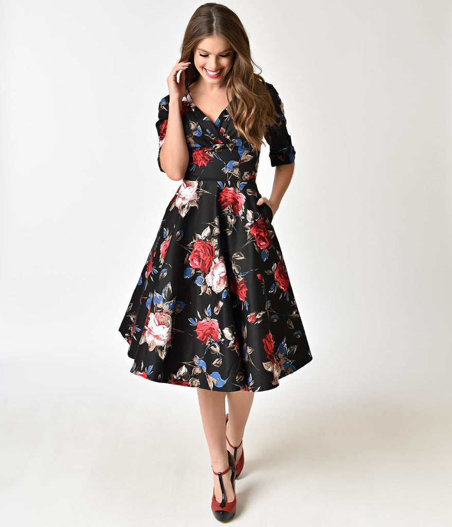581eed93c197 ... Unique Vintage 1950s Black   Red Floral Delores Swing Dress with Sleeves
