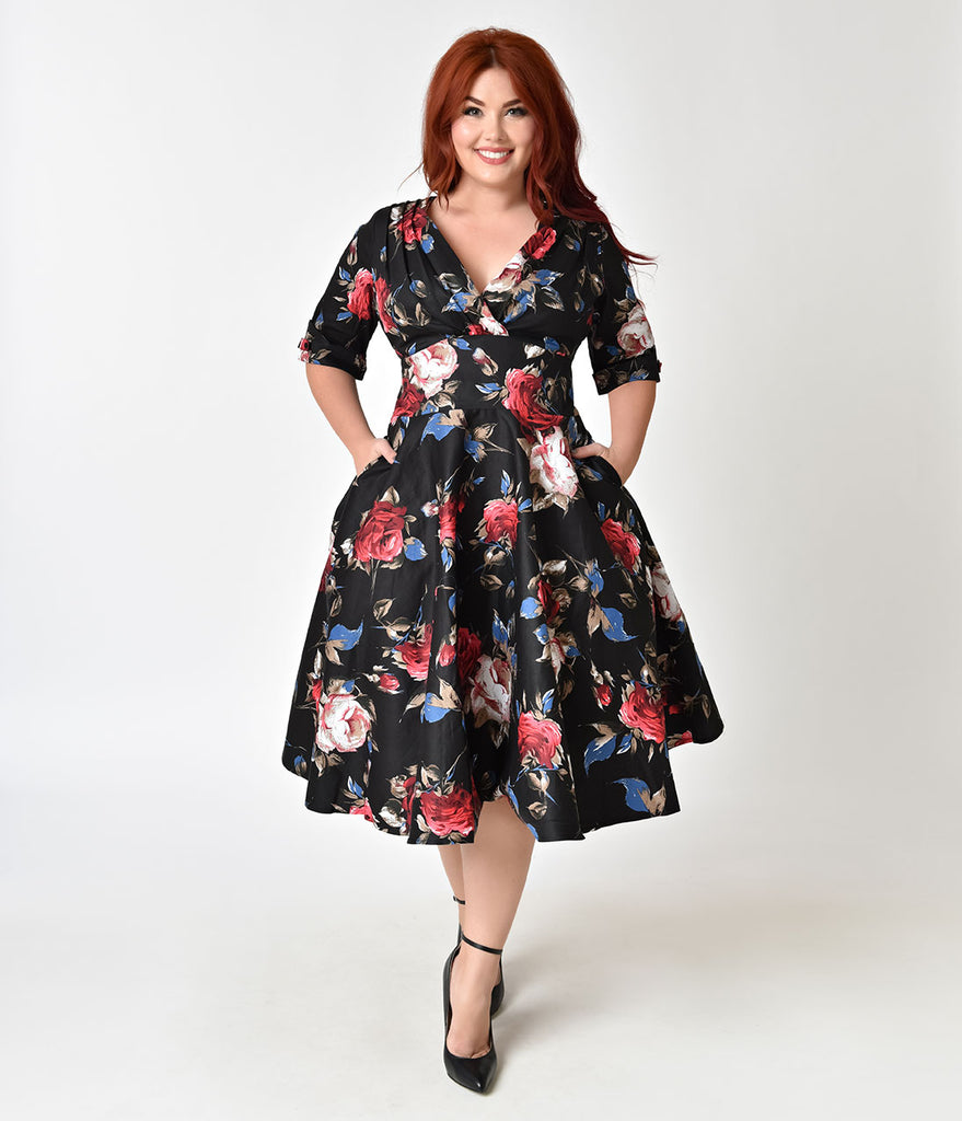 Unique Vintage Plus Size 1950s Black & Red Floral Delores Swing Dress with Sleeves