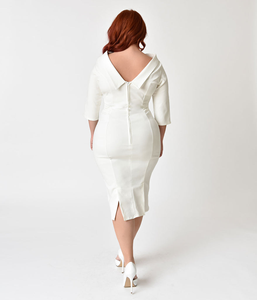 Unique Vintage Plus Size 1960s Ivory Stretch Sleeved Lucinda Wiggle Dress
